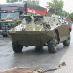 Transport eines amphibischen Fahrzeugs